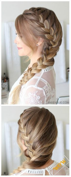 Stunning French Braid Hairstyles for Medium and Long Hair #sidebraidhairstyles
