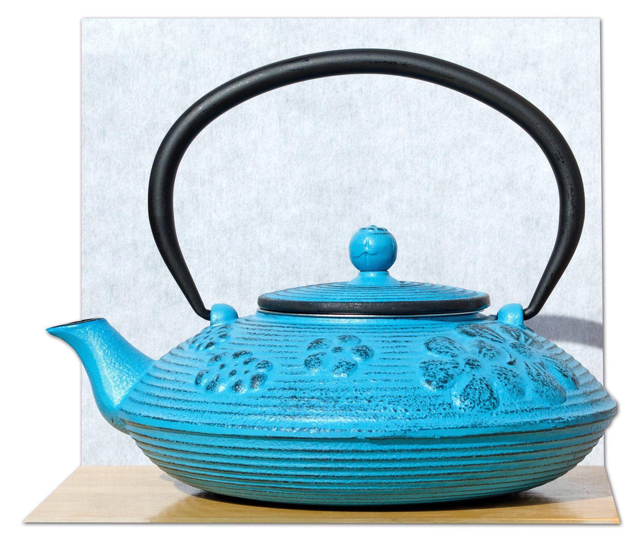 Tetsubin Style Cast Iron Teapot Kettle With Light Blue Spring Flower Design 0 8 Litre Tea Pots Cast Iron Tea Pot Blue Spring Flowers