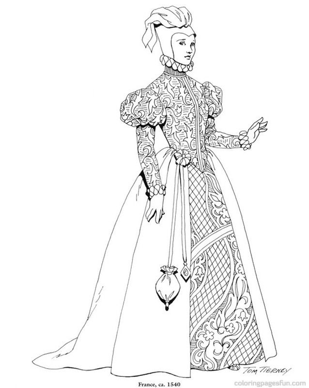Renaissance Costumes and Clothing Coloring Pages 31 | Coloring ...