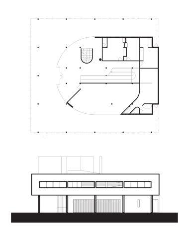 Elevation And Ground Floor Plan Of The Villa Savoye Le Corbusier