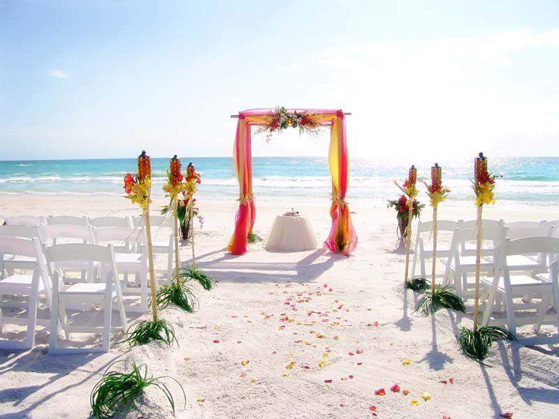 Orange Hot Pink Tropical Beach Wedding
