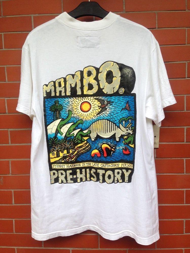 912593baa25 Vintage 90s MAMBO LOAD Pop Art Pre History Australia Surf Skate T-Shirt   Mambo