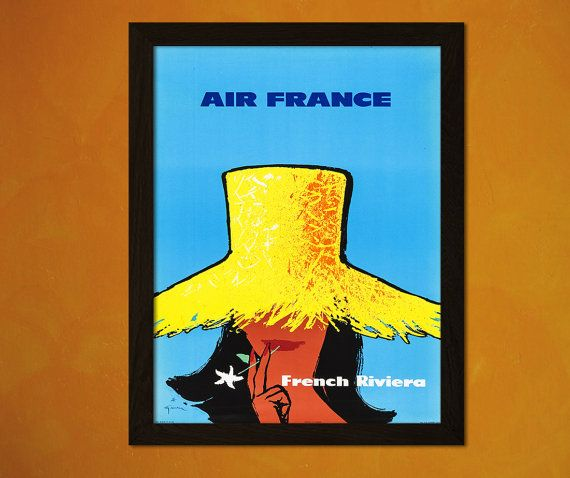 French Riviera Travel Print 1960s - Travel Poster Travel Home ...