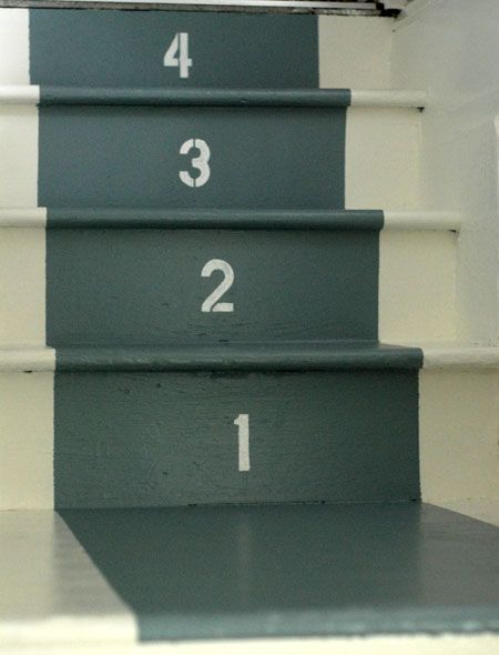 stenciled-number stairs