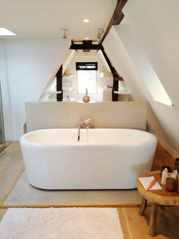 Une salle de bain sous pente ou sous combles en 52 photos salle de bain pinterest salle - Salle de bain combles ...