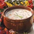 Creamy Wild Rice Soup- I use FF 1/2 and 1/2 and my left over brown rice as substitution.  Muy yummy!