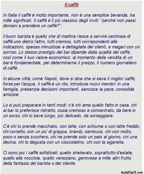 Il Caffé Italiano Lecturas Egresaditos Cursillo Vocabulario En Ingles