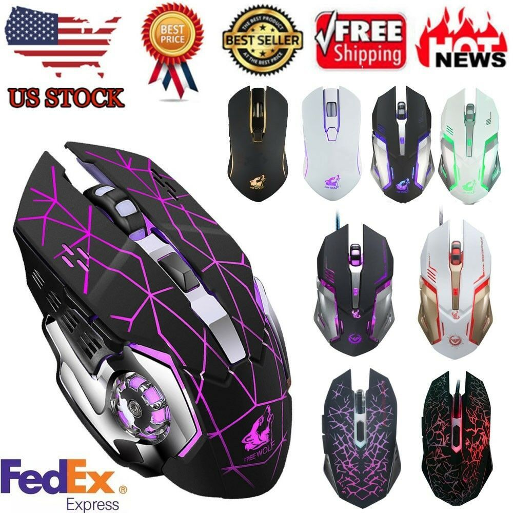 Rechargeable Wireless Silent Backlit USB Optical Ergonomic Gaming Mouse Mice USA