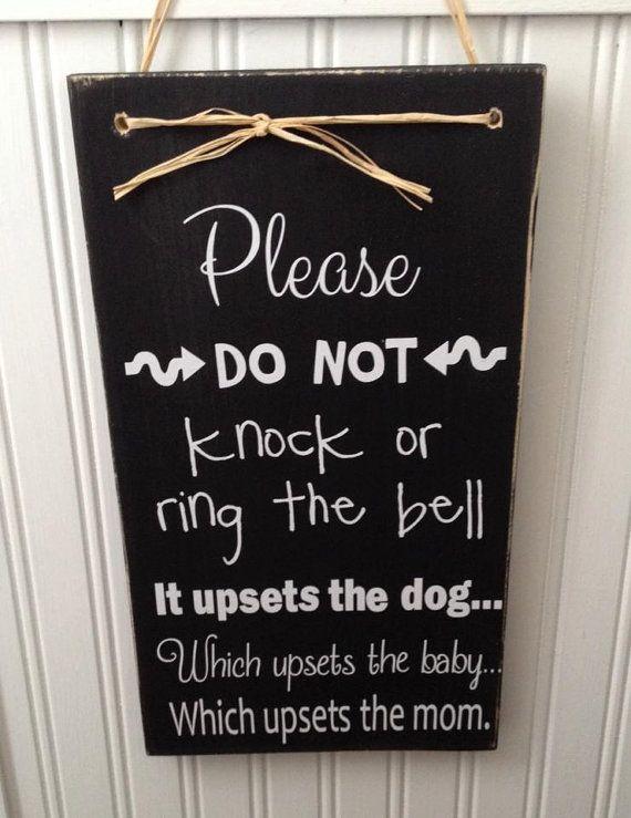 PLEASE RING THE BELL FRONT DOOR WALL PLAQUE IN GREEN