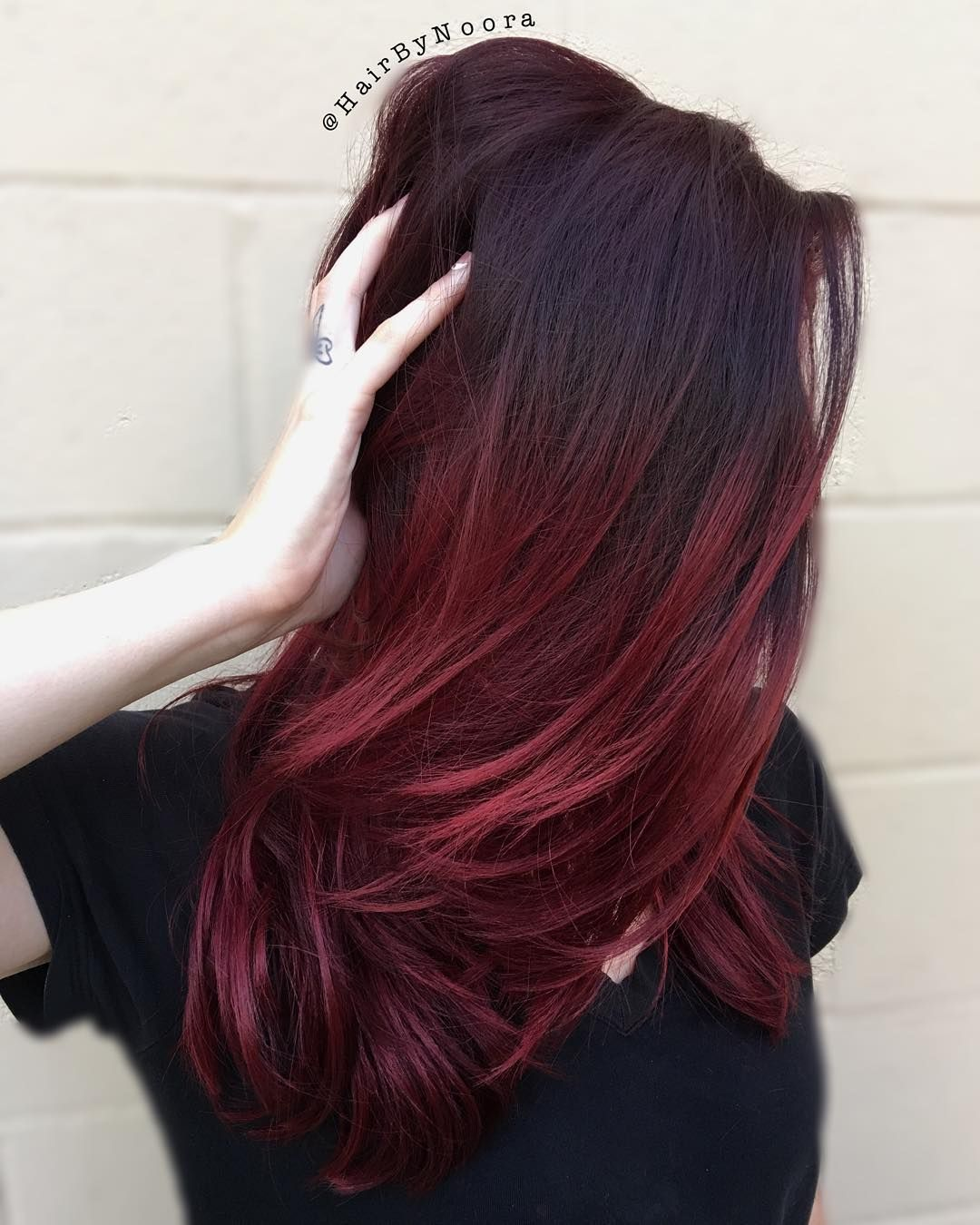 Picture of black and magenta balayage hair - Medium To Long Black Hair With Burgundy Balayage