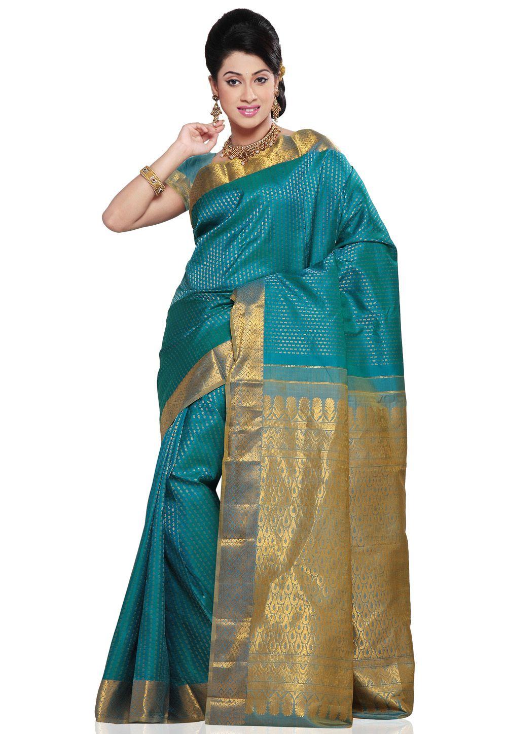 02b205de2696f Dark Turquoise Blue Pure Kanchipuram Handloom Silk Saree With Blouse ...