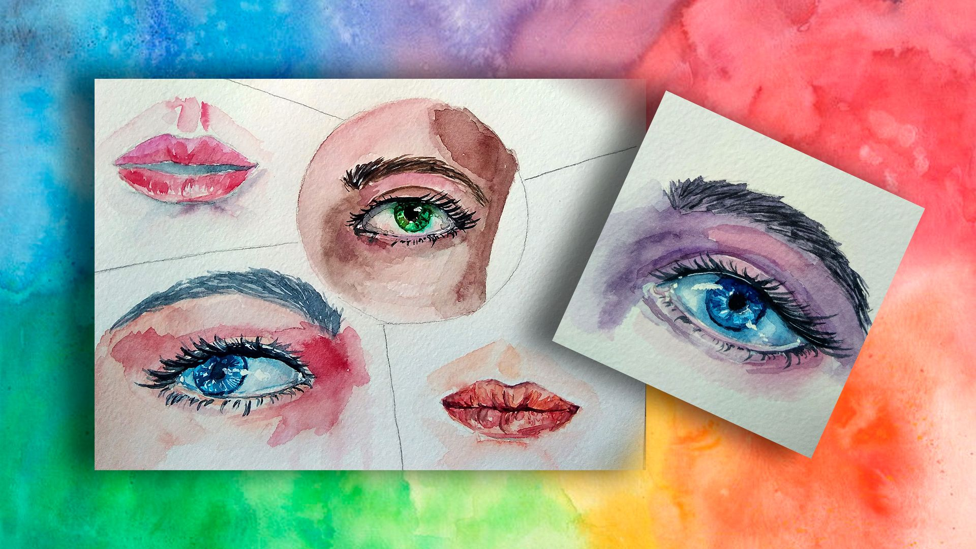 Watercolor Eyes And Lips Sketch Tutorials For Beginners How To