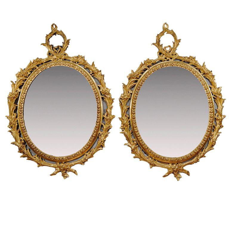 "1stdibs   Pair of George III ""Carton Pierre"" Oval Gilt Mirrors (18th century)"