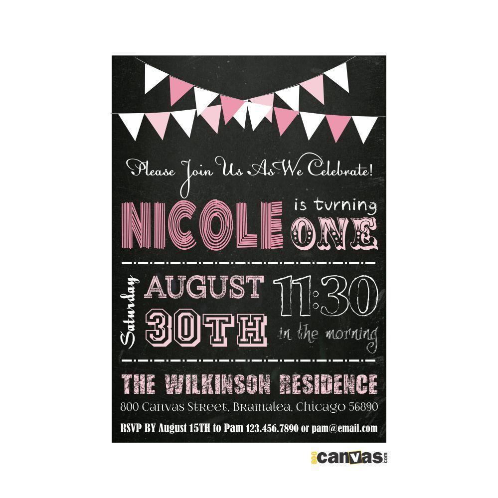 1st birthday chalkboard Invitation. Chalkboard Card. Any Age ...