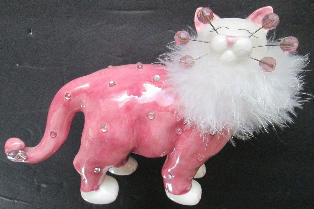 "Amy Lacombe 2004 WhimsiClay ""Glamour Puss"" Priya Cat Figurine #86145"