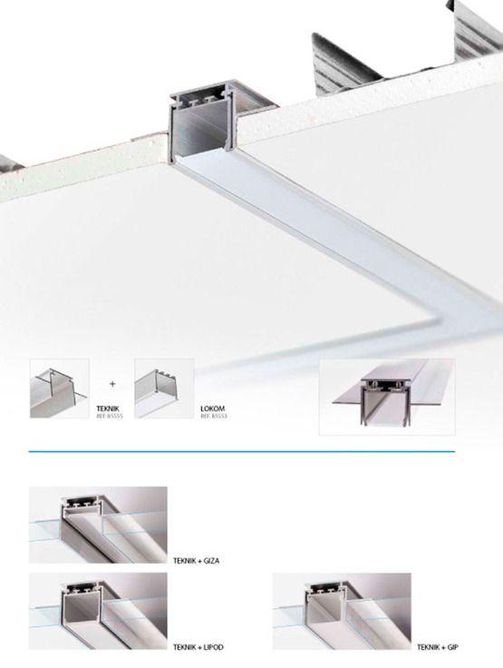 Oświetlenie liniowe LED w stropie w płytach gipsowo kartonowych profile do tasm led oswietlenie pokojowe oswietlenie biura