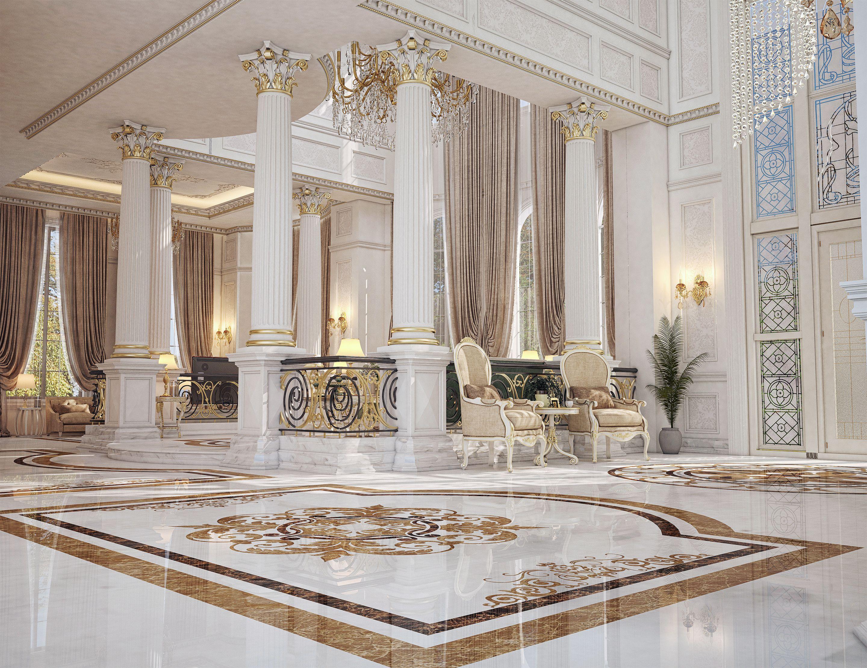 Main Entrance Hall Design For A Private Villa At Doha