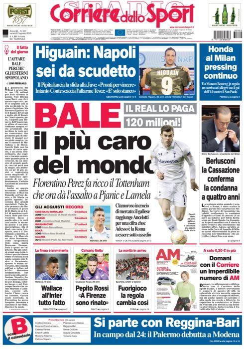 Oggi in EDICOLA Calciomercato Bale al Real