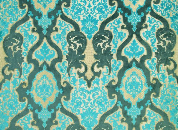 Rocco Damask Woven Velvet Jaqcquard Fabric Turquoise Wallpaper