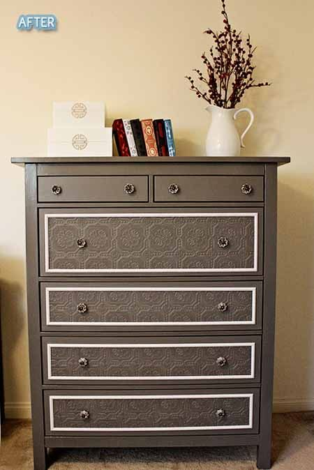 Modge Podge lace to dresser drawers and then paint over it. Furniture  Makeover, Diy - Dresser Re-do With Textured Wallpaper! Love! Maybe On Cabinet Doors