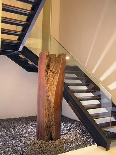 Barandilla en vidrio para escalera interior decorar - Escaleras de madera interior ...