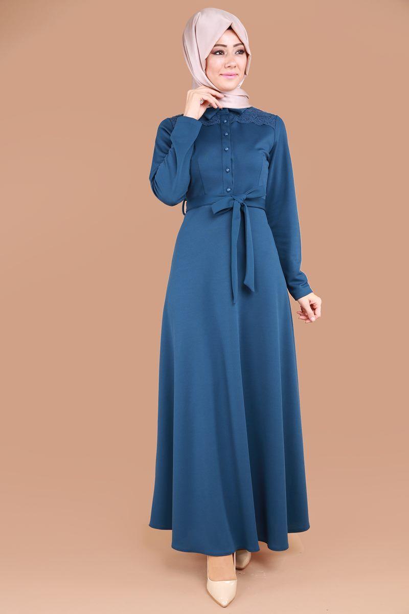 ad6d130ce276b Aktif Düğmeli Tesettür Elbise İndigo Ürün kodu: PUA6123 --> 59.90 TL ...
