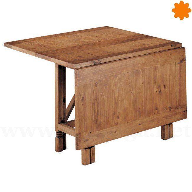 Mesa rústica de madera plegable y extensible rectangular 115x78x38 ...