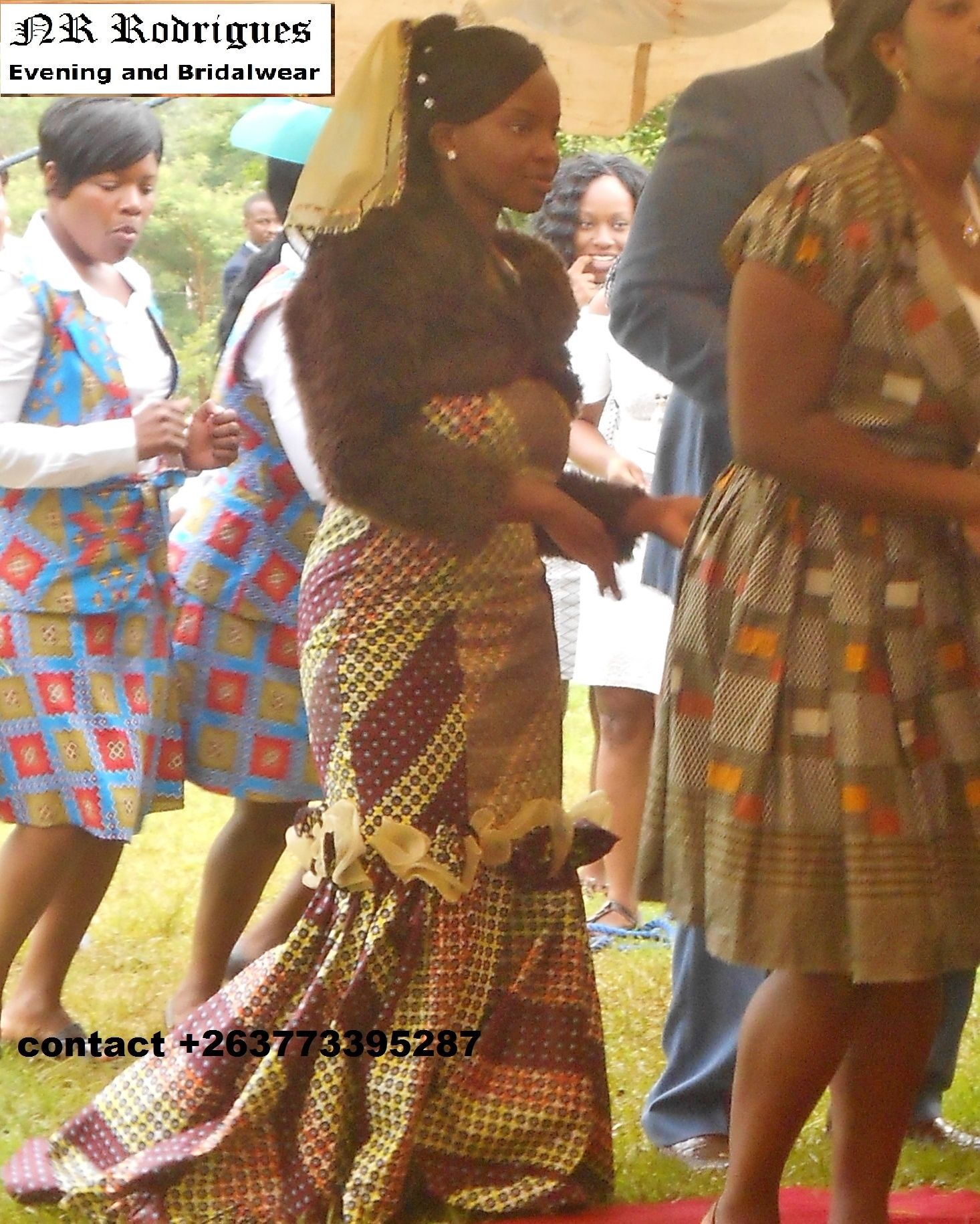 Lovely Zimbabwean Bride In Her African Themed Second Dress