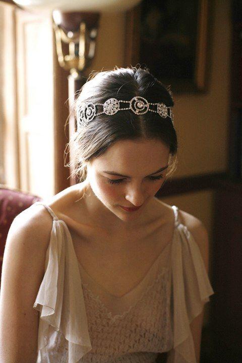 Moonrise Headwrap by Jennifer Behr bridal :: Vintage Dress :: Photography by Belathée :: wedding :: headwrap :: bride :: crystal