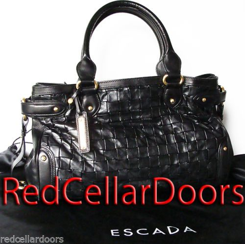 Auth Escada Woven Margaretha Ley Bag Xl Tote Black Leather Satchel Beauty 1790 Leather Satchel Coach Leather Black Leather Satchel