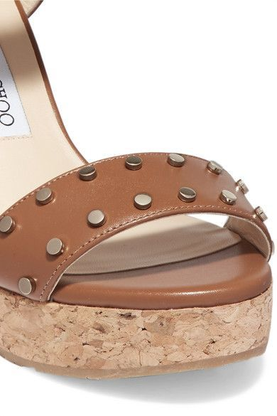32a7744aacf9 Jimmy Choo - Nelly Studded Leather Wedge Sandals - Tan