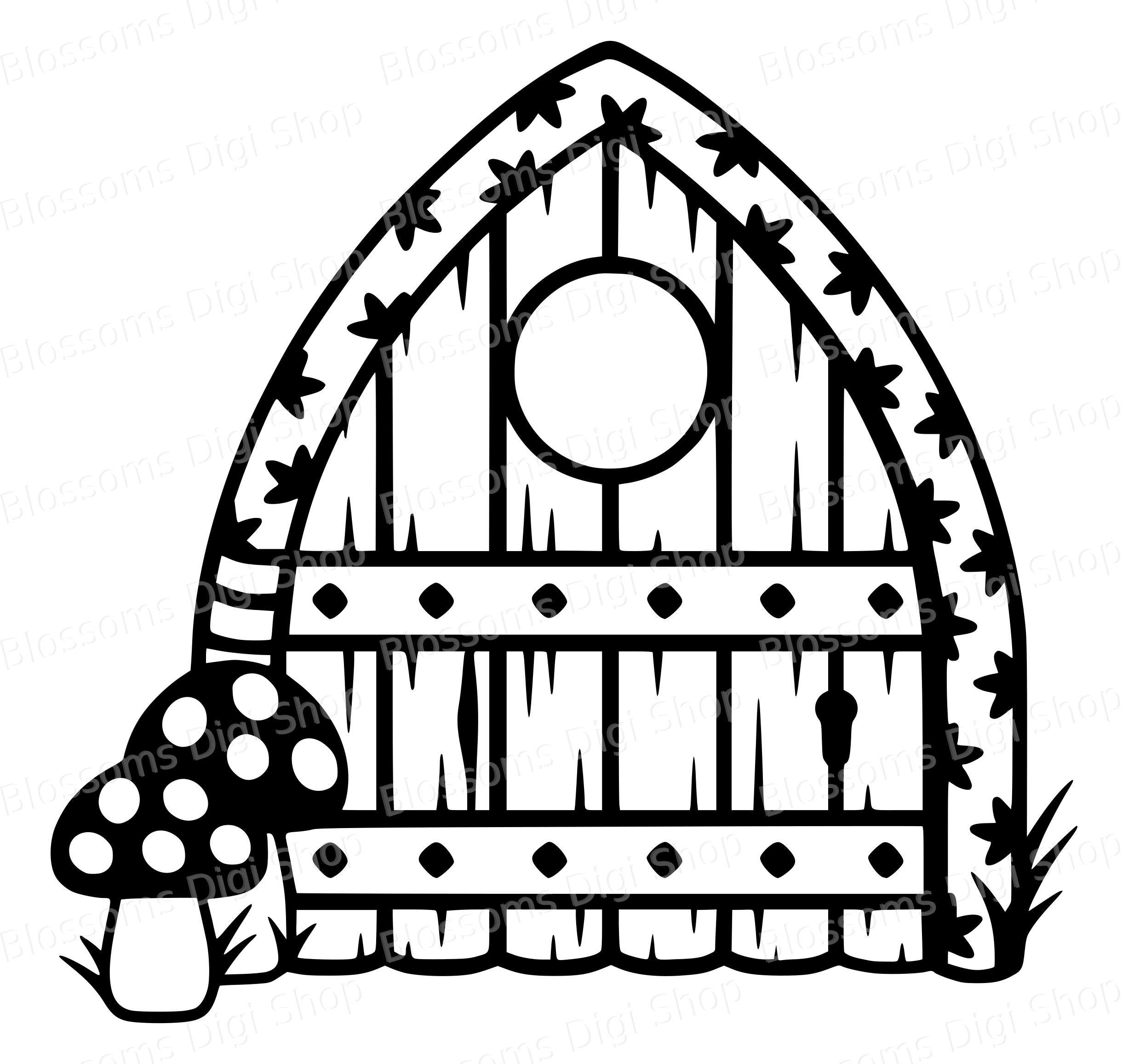 Fairy Door Archway Svg With Mushrooms Old Wood Stencil