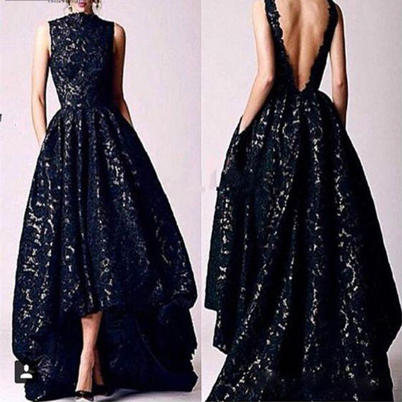 Find More Prom Dresses Information about Arabic Hi Low Black Lace Prom dresses 2017 Vintage High Neck Deep V Backless Formal Party Gowns Evening Dresses With Pocket,High Quality dress paypal,China dresses wear christmas party Suppliers, Cheap dress up a black dress from Suzhou Wedding Love Store on Aliexpress.com