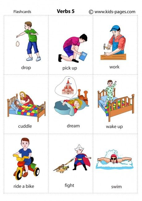 Actions 5 Flashcard Showing Drop Pick Up Work Cuddle Dream Wake Up Ride A Bike Fight Learning English For Kids Kids English English Lessons For Kids