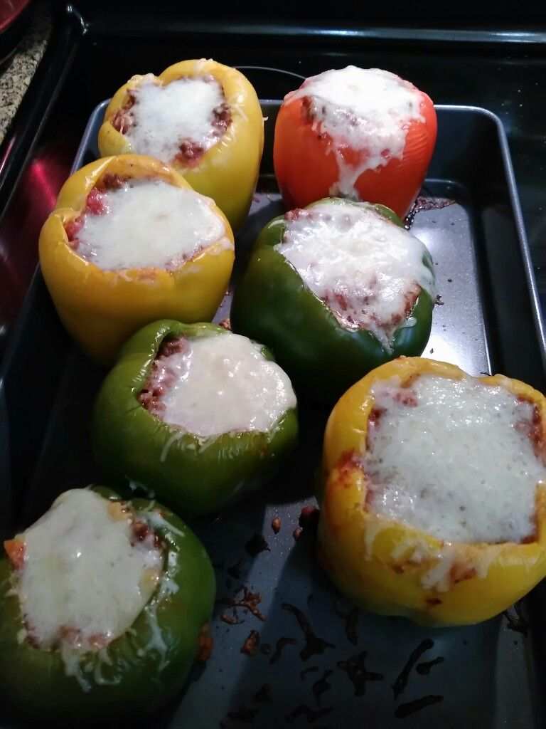 Lasagna stuffed bell peppers made using the tasty app