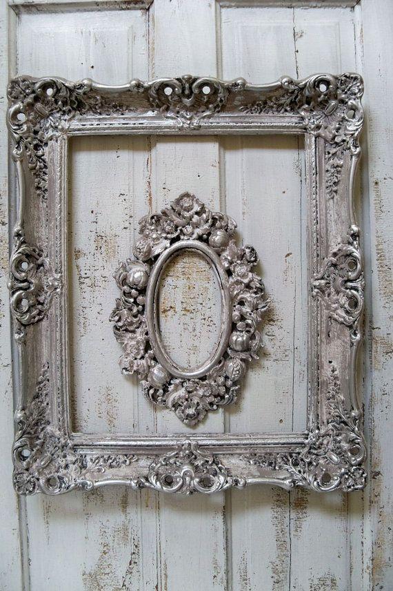 French Farmhouse White Putty Gray Frame Set By Anitasperodesign