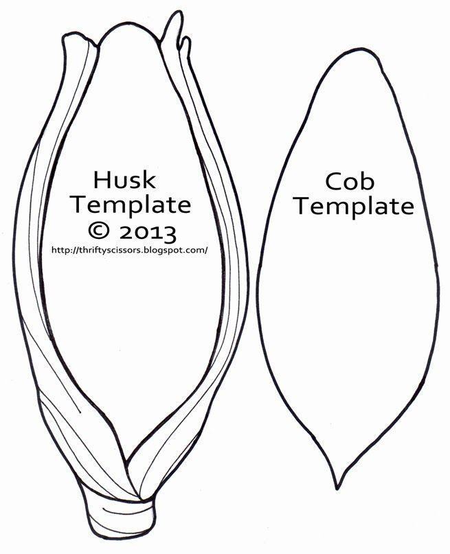 Corn On Cob Template Sketch Coloring Page Preschool Harvest