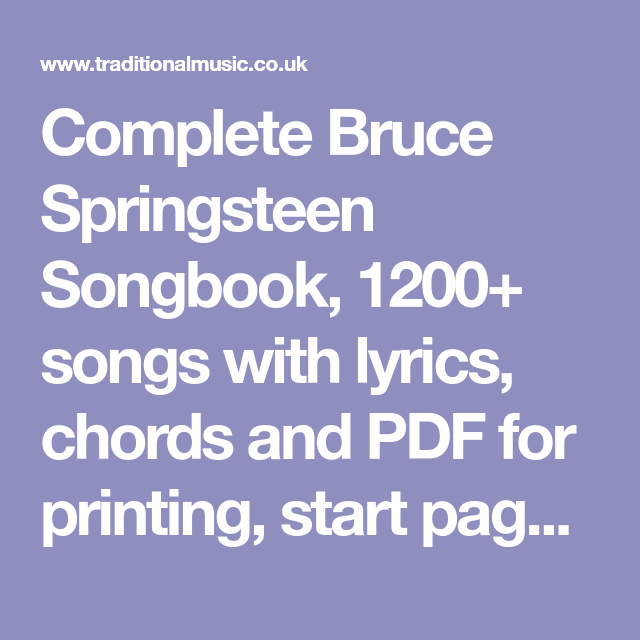 bruce springsteen terrys song chords and lyrics