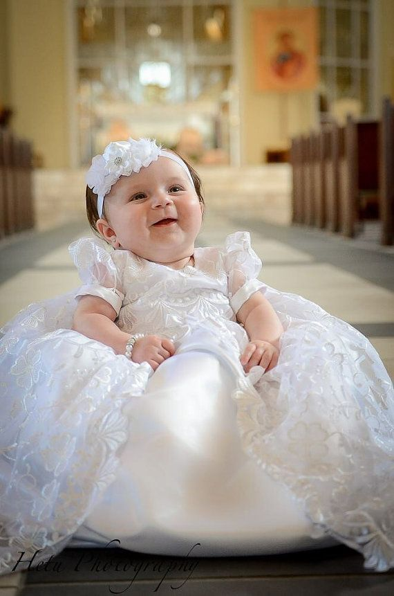 Stunning Off White Lace Christening Gown, Baptism, Dedication, 0 - 3 months, 0-3 months, 3-6 months, 6-9 months, 9-12 months, 12-24 months  $129.00
