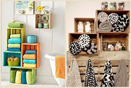 Decoración con palets y cajas de madera para cuarto de baño design