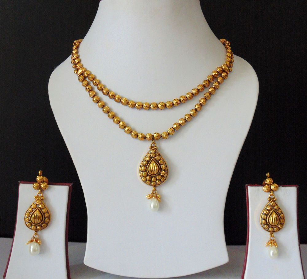 Indian Bridal Wedding Pearl Rani Haar Choker Necklace Sets: Indian Jewelry Bridal Victorian Gold Plated Pearls