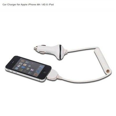 Car charger with undetachable cable for iphone 4th / 4g & ipad