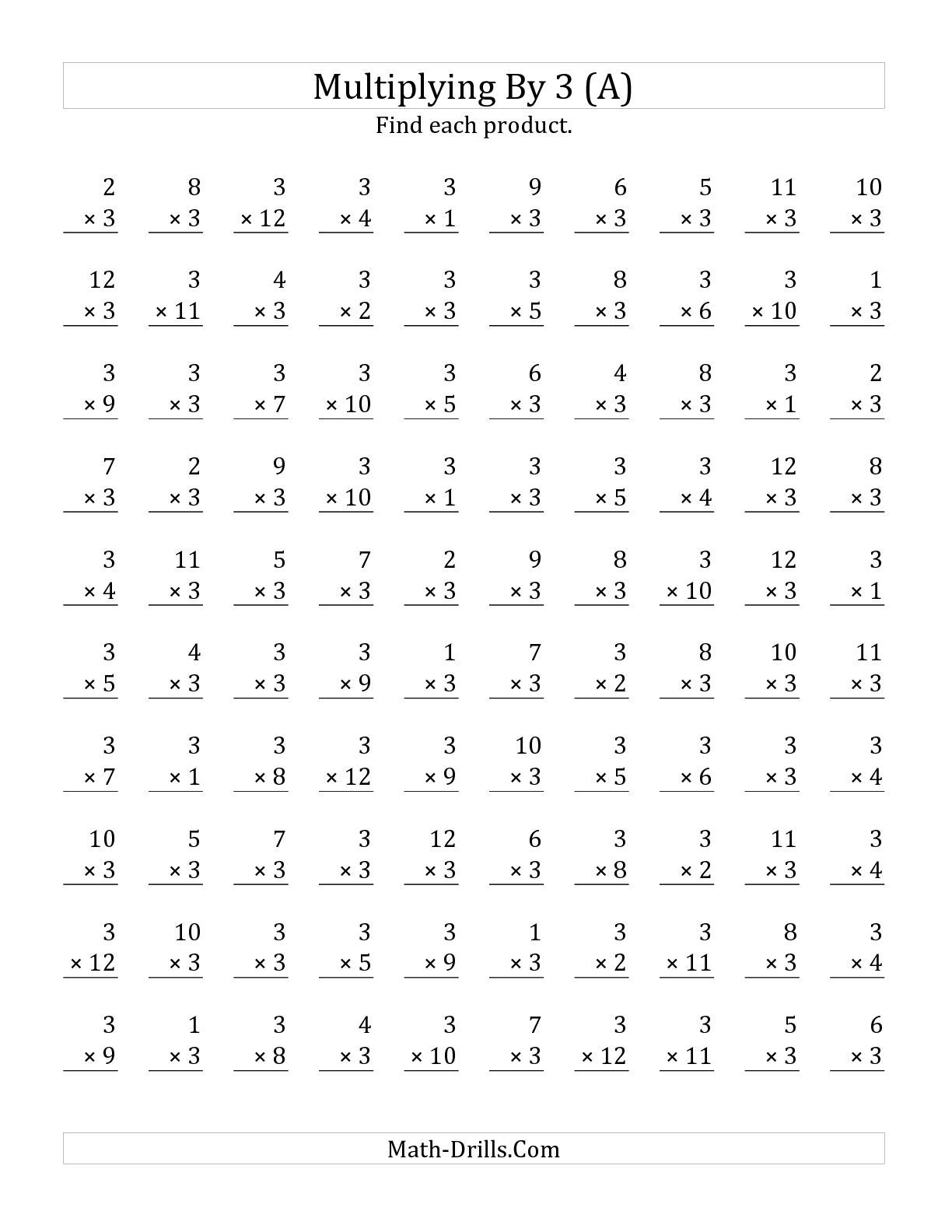 worksheet Multiplication Math Sheet the multiplying 1 to 12 by 3 a math worksheet from multiplication worksheet