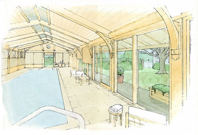 Watercolor Sketch Of A Lap Pool With Japanese Construction Details