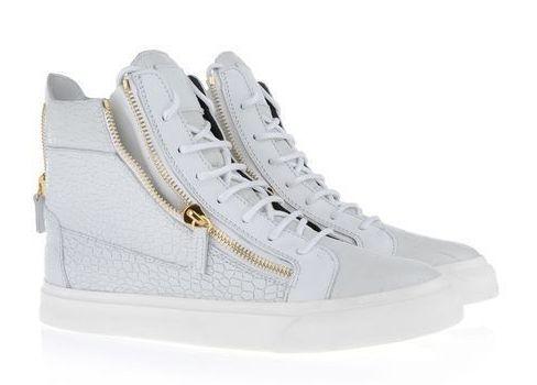 Sneaker Giuseppe Zanotti High Top Blanc Pierre Raies Couple pas cher