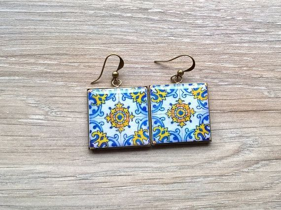 Portugal antique tile replica earrings Portuguese tiles by XTory