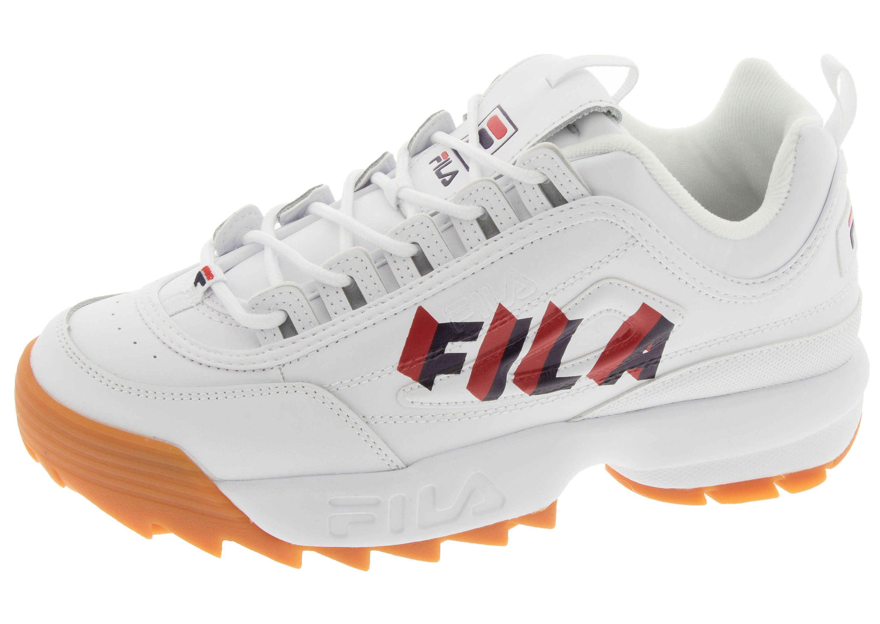 FILA Disruptor II Perspective White Fila Navy Fila Red
