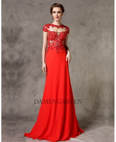 Rot Perlen Lang Abendkleid