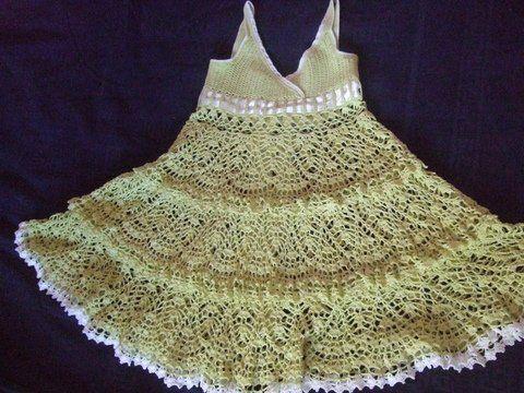 Многоярусные юбки крючком для девочки