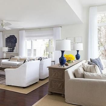 Long Living Room Divided Into Two Spaces, Transitional, Living Room